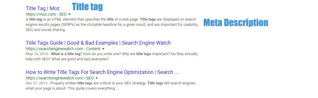 title tag and meta description example